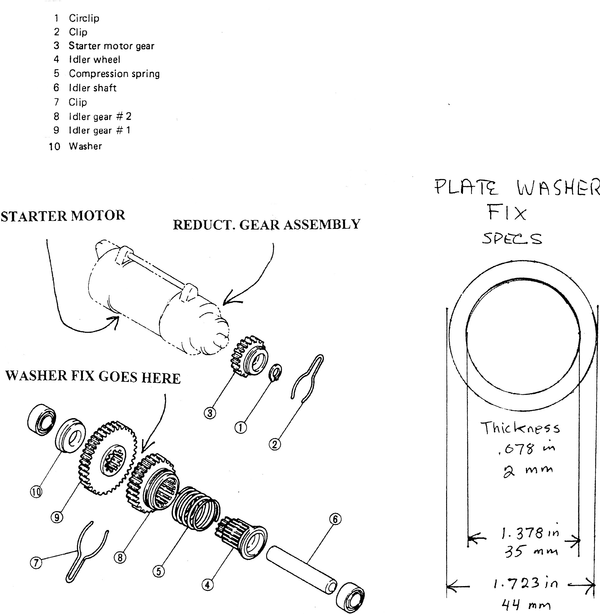 parts blowup - 81 to 83 virago starter systems